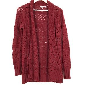 Lucky Brand Open Front Knit Cardigan Burgandy
